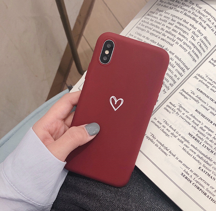 For iPhone Xs Max XR 8 7 Plus Ultra Slim Case Matte Heart Protective Phone Cover 2