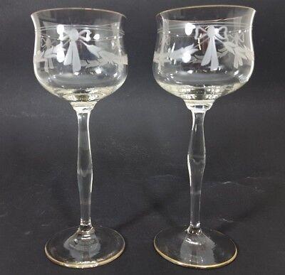 Jugendstil Wein- Glas Römer, handgeschliffen, wohl Theresienthal, um 1900  AL153 11