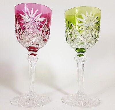 Römer Weinglas eingestochene Luftblase Handschliff Val St Lambert um 1900  AL139 12