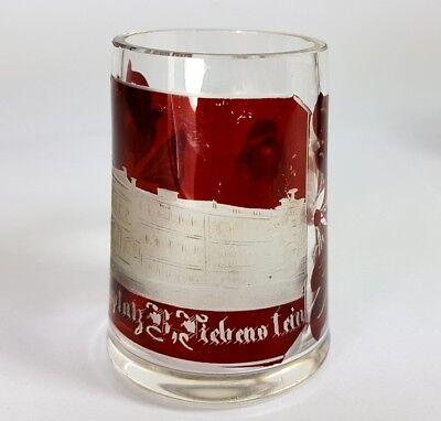 3 Krüge/ Henkel- Becher, Glas gebeizt, um 1900 AL370 6