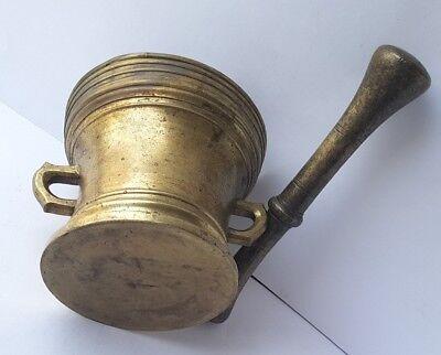 Antiker Bronze Mörser mit Pistill/ Stößel, um 1700 AL717 11