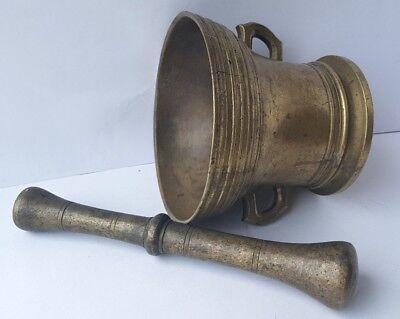 Antiker Bronze Mörser mit Pistill/ Stößel, um 1700 AL717 6
