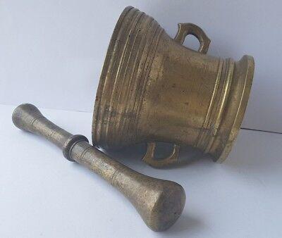 Antiker Bronze Mörser mit Pistill/ Stößel, um 1700 AL717 7