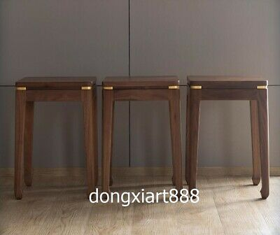 Brass Black walnut solid wood furniture Wooden dining room square High stool 9