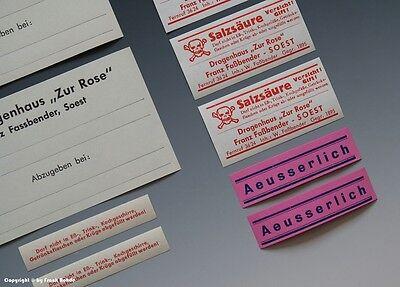 24 x Etiketten für Apotheken Flaschen um 1900-1960