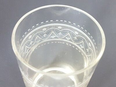 Glas Becher, handgraviert, Schlesien, um 1870 - 1890 AL207 12