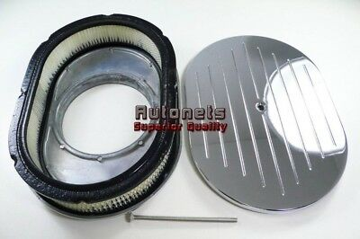 """12/"""" Oval Aluminum Air Cleaner Filter 4 Barrel Carbs SBC Hot Rod Rat Rod Kustom"""
