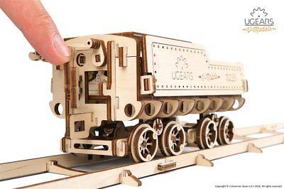 Ugears Holz Modellbau V-Express Lokomotive Lok Bahnhof und Schienen 3er Set