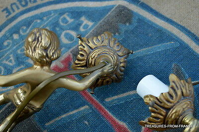 TWO French antique bronze cherub light fittings re wired 110-240v 9