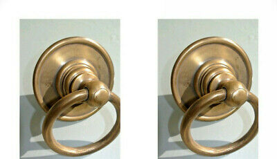 "4 medium round handle ring pull solid brass heavy old vintage OLD style DOOR 3""B 2"