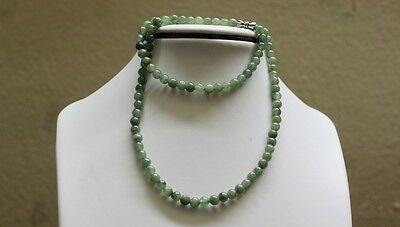 "Genuine 100% Natural JADE Type A Beautiful Oily Green Jadeite Necklace 5.2mm 19"" 7"