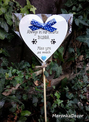 Always in my heart- PET MEMORIAL-Dog-Cat Grave Personalised Plaque-BLUE 2