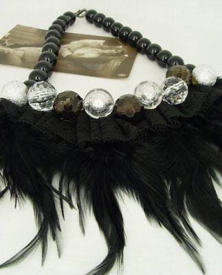 Retro Halskette echte Federn & Spitze mit Kunstperlen vintage Federcollier neu 2