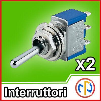 2x Interruttore a levetta Deviatore switch 3 posizioni ON-OFF-ON 3