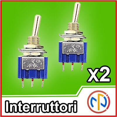 2x Interruttore a levetta Deviatore switch 3 posizioni ON-OFF-ON 2