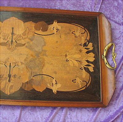 Grosses altes Tablett Jugendstil um 1900 Art Nouveau Tray marquetry 3