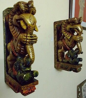 Wooden Bracket Hindu Temple Corbel Yalli Pair Dragon Statue Figure Wall Plaque 12