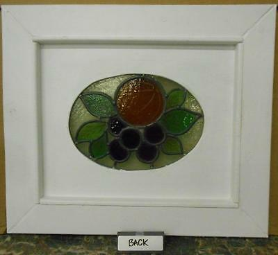 "OLD ENGLISH LEADED STAINED GLASS WINDOW Cute Fruit Cirlcle 17.5"" x 15.25"" 3"