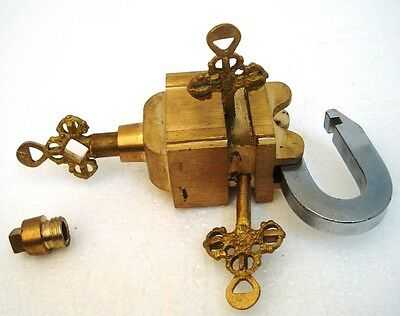 Brass Padlock Square Trick Puzzle Lock  with 6 Keys 12