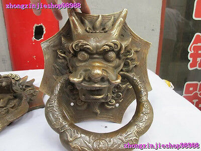 Chinese Royal Classical Copper Guardian Evil Dragon Head Door knocker Pair 4