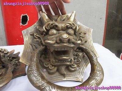 Chinese Royal Classical Copper Guardian Evil Dragon Head Door knocker Pair 3