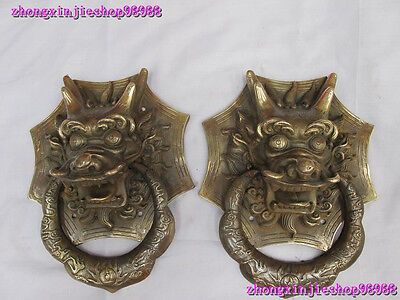 Chinese Royal Classical Copper Guardian Evil Dragon Head Door knocker Pair 2