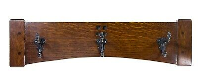 Arts and Crafts 18 Inch 3 Cast Iron Hook Coat Rack 2