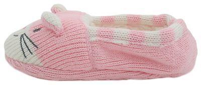 RJM Girls Soft Knitted Cat Slipper Socks with Grippy Soles 7