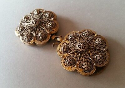 SUPERB ANTIQUE OTTOMAN GOLD PLATED hand-knitted SILVER filigree belt buckle XIXc 5