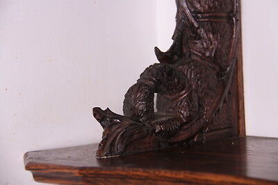 19C French Carved Oak Winged Griffin/Gargoyle/Dragon Wall Shelf 6