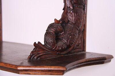 19C French Carved Oak Winged Griffin/Gargoyle/Dragon Wall Shelf 8