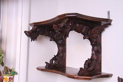 19C French Carved Oak Winged Griffin/Gargoyle/Dragon Wall Shelf 2