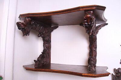19C French Carved Oak Winged Griffin/Gargoyle/Dragon Wall Shelf 3