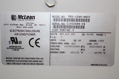 Mclean Cooling Technology Enclosure Air Conditioner T50 1246 G400