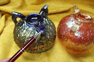 Lot of 4 Fenton Carnival Glass Footed Rose Bowls Orange Tree Blue Peach Amethyst