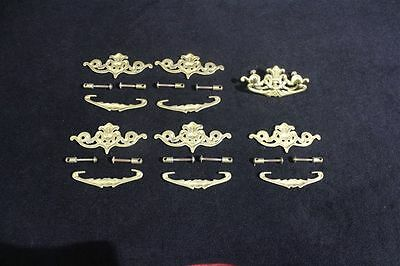 Complete Set of 6 Vintage Brass French Style Drawer Pulls