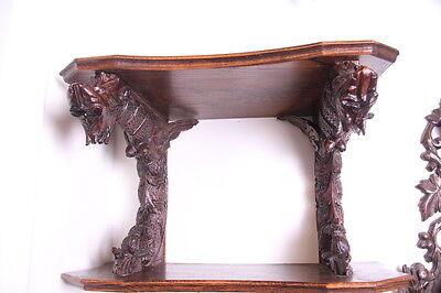 19C French Carved Oak Winged Griffin/Gargoyle/Dragon Wall Shelf 10