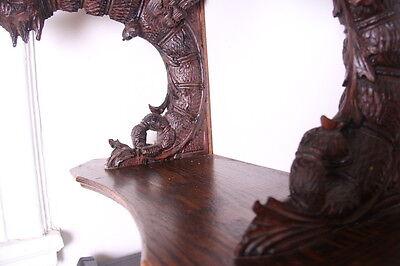 19C French Carved Oak Winged Griffin/Gargoyle/Dragon Wall Shelf 12