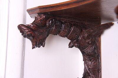 19C French Carved Oak Winged Griffin/Gargoyle/Dragon Wall Shelf 4