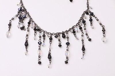 Zx186 Victorian Black Crystal Beads// Gun Metal Chain Choker Necklace