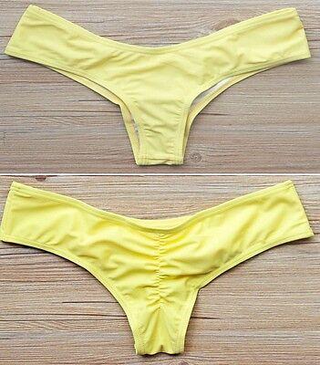 Brazilian Womens V Thong Cheeky Ruched Bikini Bottom Swimwear Beachwear S-XL