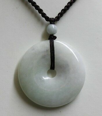 Certified Natural JADE Type A Untreated Light Green Jadeite Circle Donut Pendant 3