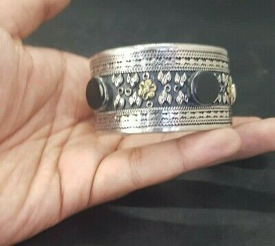 Silver plated And Brass Afghani Bangle With Black Agate Stone #761 8