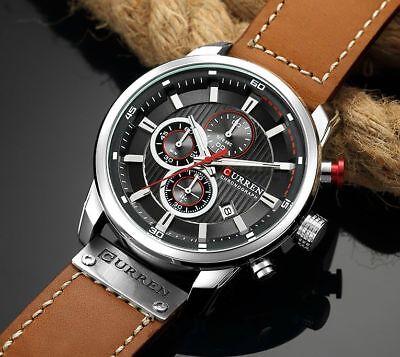 Men Waterproof Leather Aviator Army Military Chronograph Date Quartz Wrist Watch 9