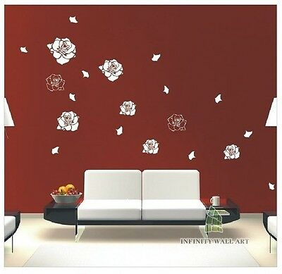 Flower Wall Stickers Large Flying Rose Petals Wall Art Stickers PD353