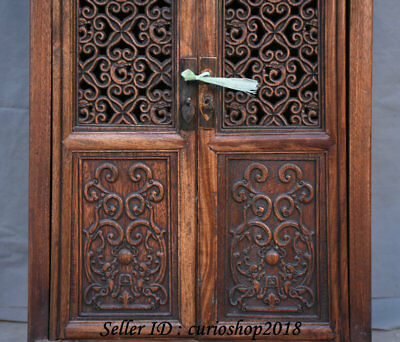 """23.2"""" Old China Huanghuali Wood Dynasty Palace Carving Dragon Cupboard Cabinet 4"""