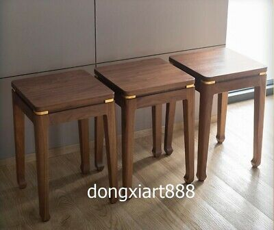 Brass Black walnut solid wood furniture Wooden dining room square High stool 10