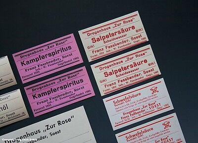 24 x Etiketten für Apotheken Flaschen aus SOEST um 1900-1960 3