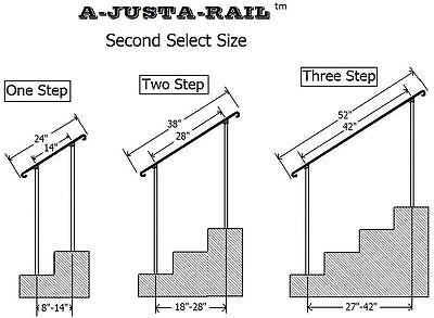"38""  A-Justa-Rail for drilling into concrete Iron stair Railing step grab Steel 5"
