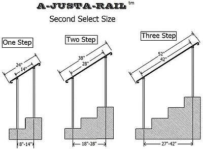 """38""""  A-Justa-Rail for in ground next to step Iron stair Railing step grab Steel 5"""